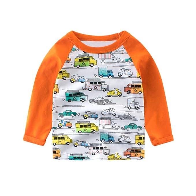 Yannerr Bebé niña niño manga larga Dibujos Coche cuello redondo camiseta tops, Chico primavera Inferior