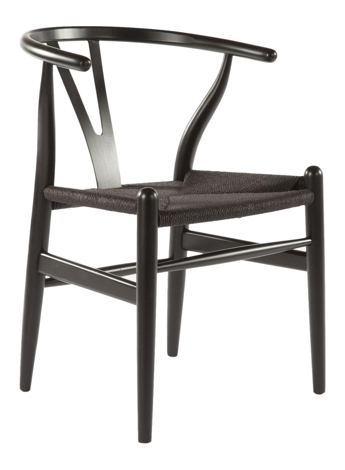 Stilnovo The Wishbone Chair with Black Strings, Black - No Assembly Required Black Hardwood Frame Black Woven String Seat - kitchen-dining-room-furniture, kitchen-dining-room, kitchen-dining-room-chairs - 61mV Or8o L -