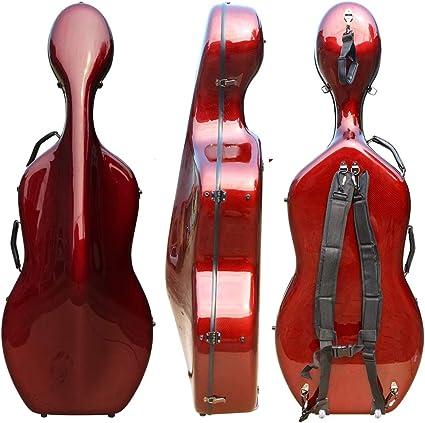 Funda rígida para violonchelo 4/4 de fibra de carbono mixta, tamaño completo, carcasa rígida fuerte, ligera, 4,5 kg, soporta 300 kg de presión: Amazon.es: Instrumentos musicales