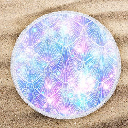 (ARIGHTEX Glitter Seashells Pastel Round Beach Towel Beach Roundie Circle Picnic Carpet Yoga Mat Iridescent Pink Purple and Blue 60