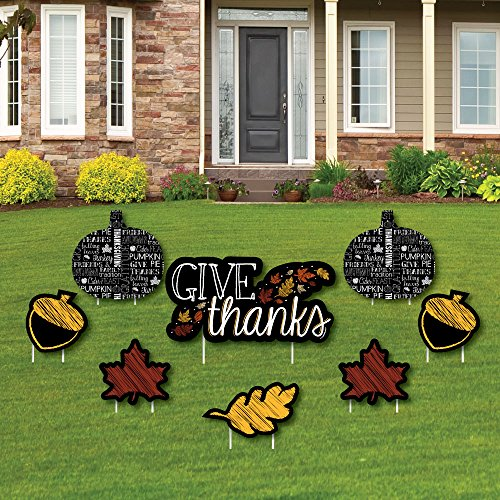 Give Thanks - Yard Sign & Outdoor Lawn Decorations - Thanksgiving Yard Signs - Set of 8]()