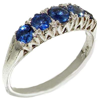 Solid English Sterling Silver Natural Blue Sapphire Vintage Style Ring xDEHcwO
