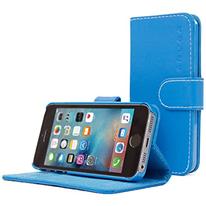 san francisco 2e154 e446f iPhone 5 / 5s Case, Snugg - Blue Leather iPhone 5/5s Flip Case [Lifetime  Guarantee] Premium Wallet Phone Cover with Card Slots for Apple iPhone 5 /  5s