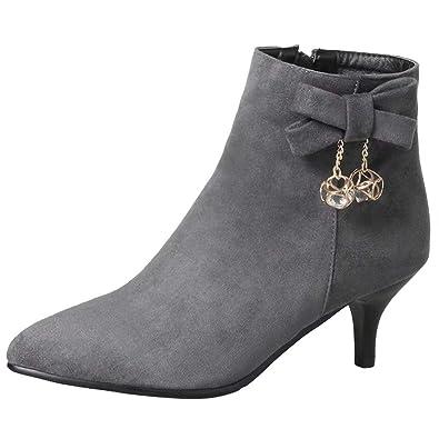 best website 1037c 871a8 AIYOUMEI Damen Kleiner Absatz Stiefeletten mit Schleife und Strass Bequem  Ankle Boots Herbst Winter Schuhe