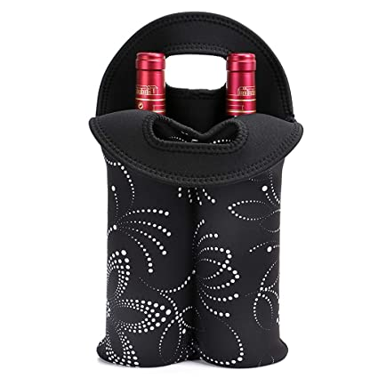 468606579897 Hipiwe 2-Bottle Wine Bottle Tote Insulated Neoprene Wine Cooler Bag  Champagne Water Beer Drinks Bottle Protective Carriers Bag Case for ...