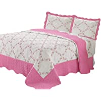 Quilt Queen Size 3 pc Bedding Bed Set/Bedspread/Embroidered / 2 Pillow sham