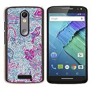 LECELL--Funda protectora / Cubierta / Piel For Motorola MOTO X3 3rd -- Dibujado Summer Fun Purple Pink --