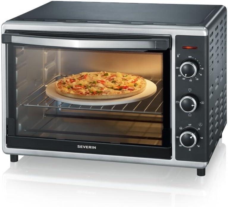 Severin TO 2058 Horno Tostador con convección incluye Piedra para pizza, 1800 W, 42 litros, Negro, Plata