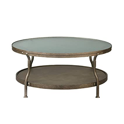 Cambridge Round Coffee Table Hammered Antique Silver See Below