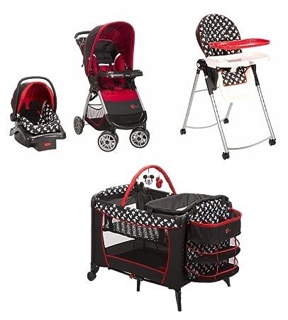 Amazon.com : 4 Piece Mickey Mouse Newborn Set Stroller Car Seat High