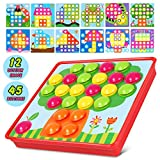 Vidillo Button Art Toys Color Matching Mosaic Pegboard Set Early Preschool Learning Educational Toys for Kids Boys & Girls,Brain Training Games, Thanksgiving Christmas Birthday Party Gifts