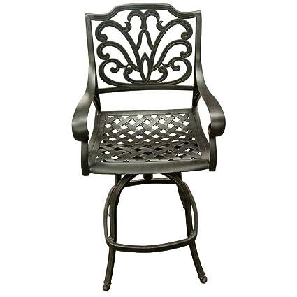 Awe Inspiring Amazon Com Fleur De Lis Living Outdoor Cast Aluminum Swivel Machost Co Dining Chair Design Ideas Machostcouk