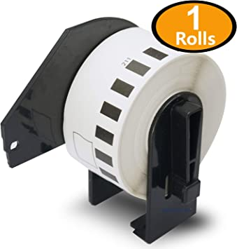 DK2211 29mm x 15.2M 1 Roll per Box 1.1 x 50 Brother Genuine DK-2211 Continuous Length Black on White Film Tape for Brother QL Label Printers Pack of 4
