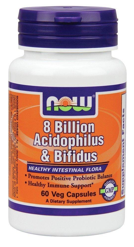 Now Foods Acidophilus, 60 Caps w/BIFIDUS 8 BILLION (Pack of 6)