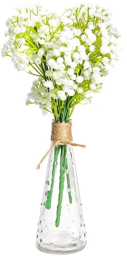 Mkono Artificial Babyu0027s Breath Decorative Vase Set 3Pcs Faux Silk Babyu0027s  Breath Flowers Floral Arrangements Home