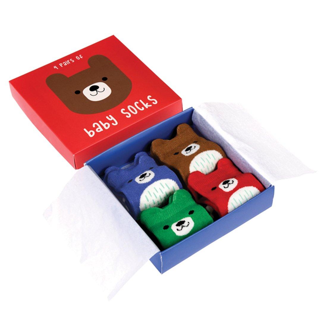 Bunte Babysocken 4 Paar im Geschenkkarton aus Baumwolle Motiv (Bär) Rex International