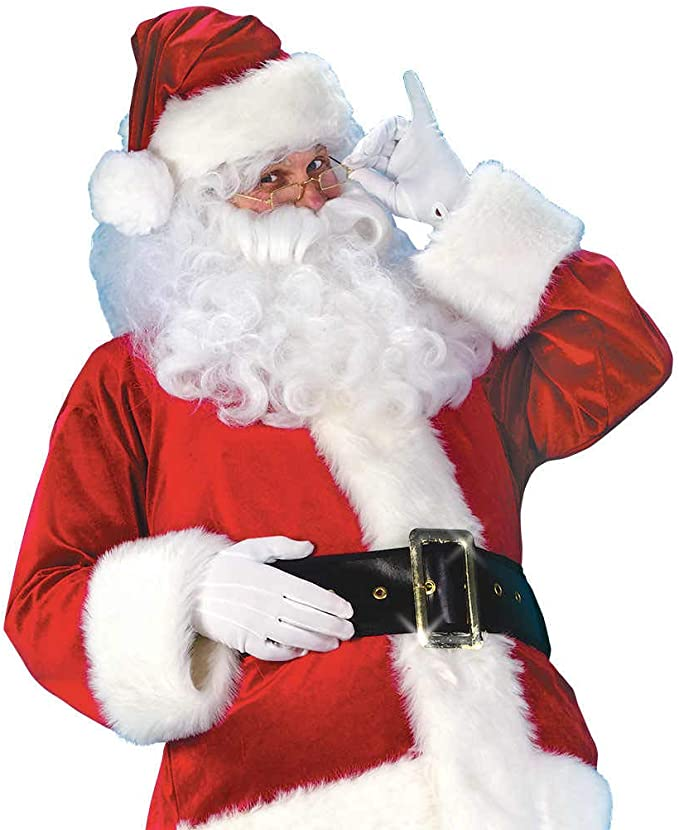 Deluxe Santa Claus Wig /& Beard Set /& Eyebrows White Costume Adult Christmas
