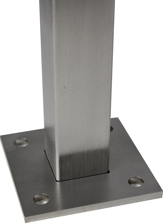 Glashalter rund 50x40 Gel/änderbalkon V2A Glasgel/änder Edelstahl Gel/änderpfosten mit Glasklemmen,Handlaufst/ütze f/ür Rohr 42,4mm