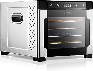 Electric Countertop Food Dehydrator Machine - 600-Watt Premium Multi-Tier Meat Beef Jerky Maker Fruit/Vegetable Dryer w/ 6 Stainless Steel Trays, Digital Timer, Temperature Control - NutriChef