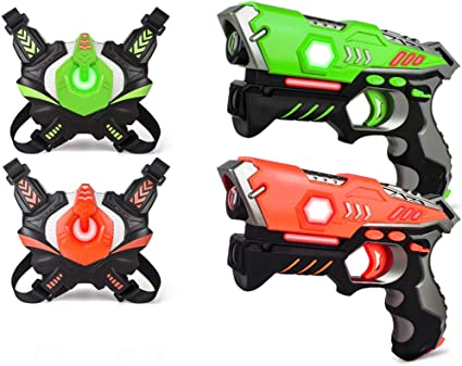 Pack of 4 Small Laser Gun Kit with 4 Vests Red//Blue//Green//Orange toy boy girl