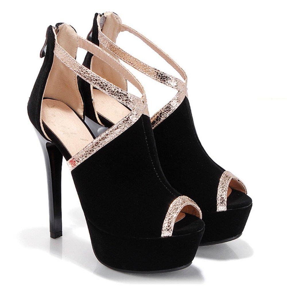 TAOFFEN Women Fashion Heels Sandals 6 Peep Toe B07CXKM8GF 6 Sandals US = 23.5 CM Black b03b53