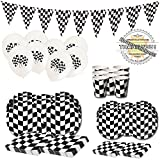 Checkered Flag Party Supplies - 73 Pieces - Nascar Racing Flag Themed - Race Car Wavy Black & White Checker Birthday Kit - Dinner & Dessert Plates Stickers Napkins Balloons Cups Flag Banner - Serves 8