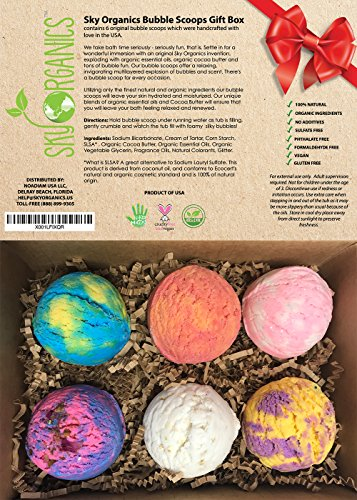 Bubble Bath Scoops Gift Set by Sky Organics with Organic Oils & Cocoa Butter for Velvety Aromatherapy Bubbles Gender Neutral – Spa Bubble Bath -Handmade in USA – Set of 6 Assorted bubble Truffles (Set Bath Therapy)