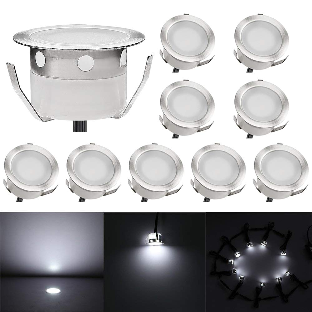ChenxuLED 12V Low Voltage Recessed LED Deck Light Kit 10pcs/Pack IP67 Waterproof Small In Ground Led Lighting For Basement Stair Patio Pathway Outdoor Landscape Decoration Lamps, Cold white