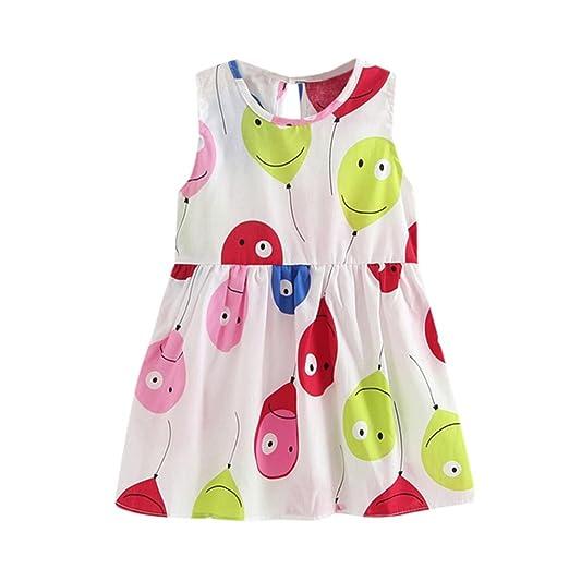 1d5f20ecd1b2 CSSD Toddler Girls Summer Princess Print Dress, Kids Baby Party Wedding  Sleeveless Dress (2T