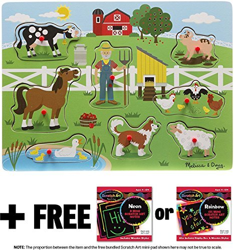 Farm Eieio - Old MacDonald's Farm: 8-Piece Sound Puzzle + FREE Melissa & Doug Scratch Art Mini-Pad Bundle (07382)