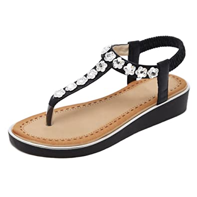 Ruiren Frauen Strass Flachen Sandalen, Sommer Strand Flip-Flops Schuhe für Damen