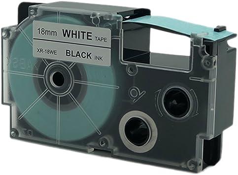 Casio XR-18WE Compatible Black on White 18mm 8m Label Tape KL100 KL120 XR-18WE1