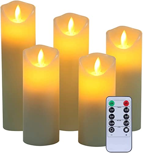 Flameless LED Candles,5 5.5 6 7 8 Set of 5 Real Wax Battery Flameless Candles Include Realistic Dancing LED Flames and 10-Key Remote Control with 2 4 6 8-hours Timer Function,300 Hours