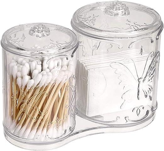Hipiwe - Soporte de algodón acrílico para Maquillaje con 2 Compartimentos, Organizador de Bola de algodón y Estuche de Almacenamiento para Botes de Maquillaje, esponjas de Maquillaje: Amazon.es: Hogar