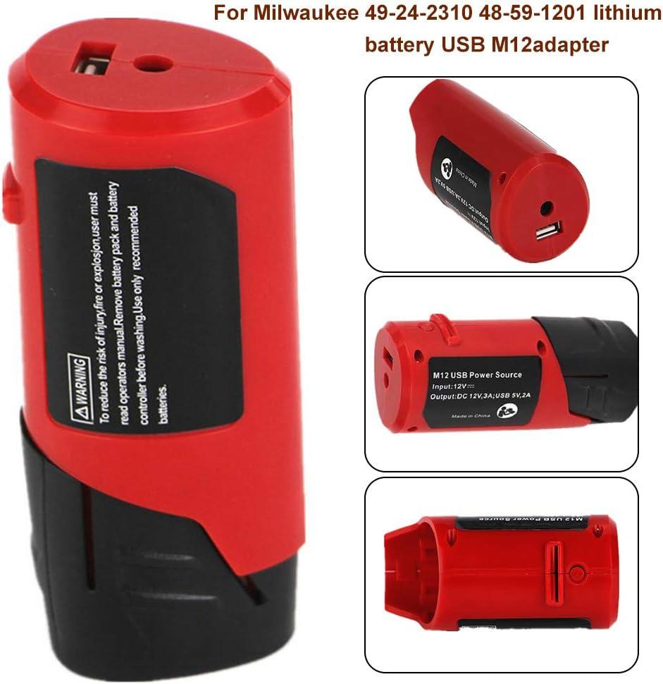 Yintiod Cargador USB DC12V M12 para Milwaukee 49-24-2310 48-59-1201