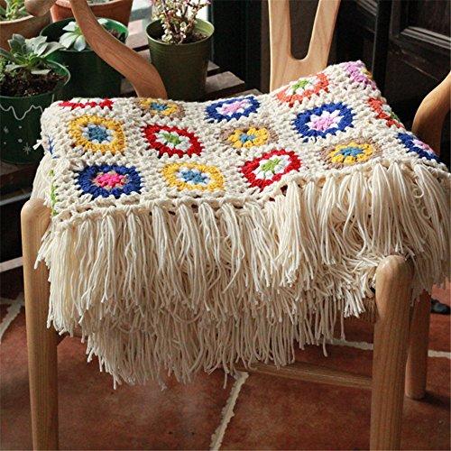 Azerlee Handmade Blanket Crocheted Afghan Knitted Couch Throw Vintage Granny Blanket ()