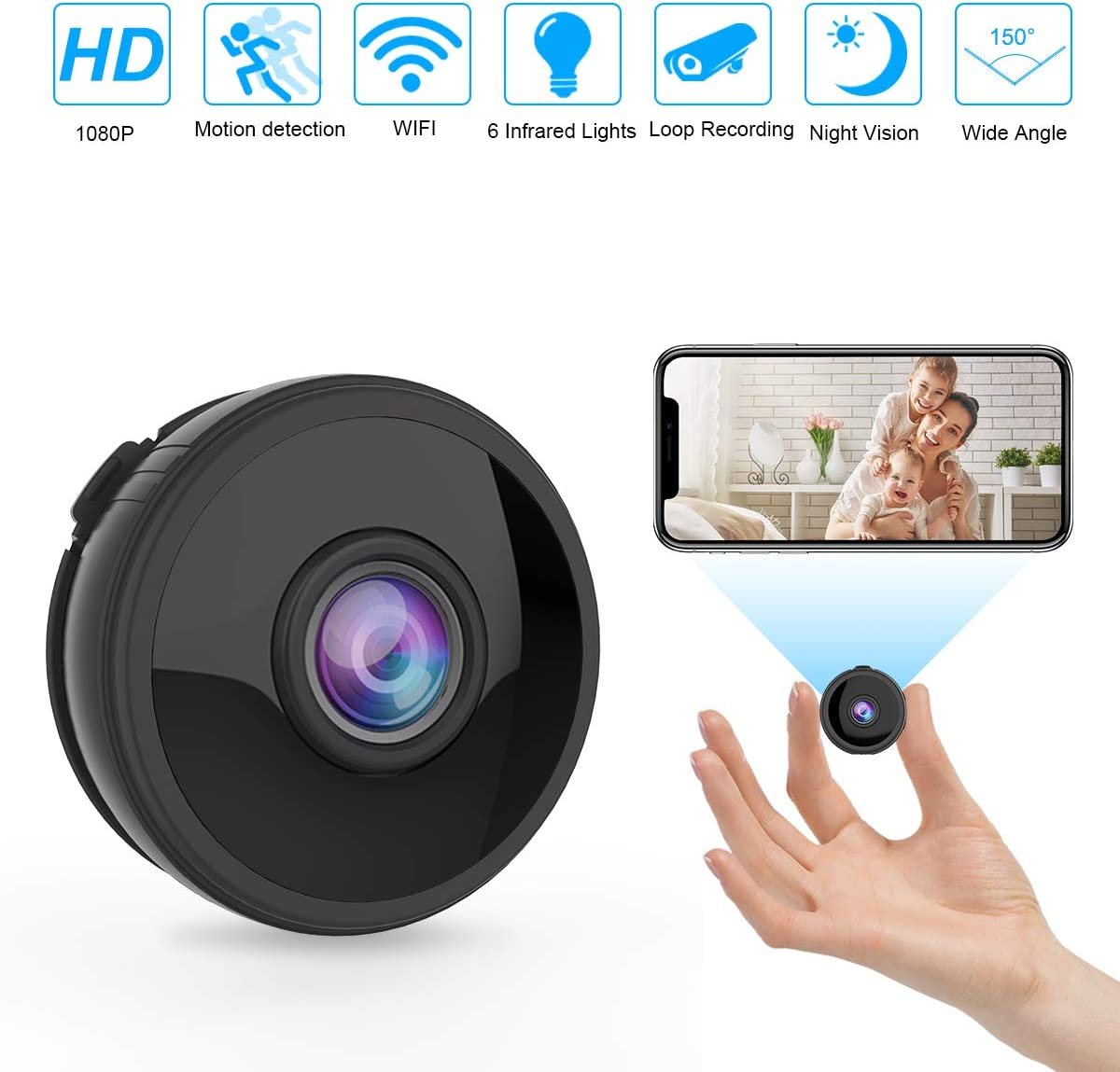 WiFi Hidden Spy Camera,Mini Spy Camera HD 1080P Wireless Security Camera for Home Nanny Cam with Night Vision Motion Detection Built-in Magnetic Fit Indoor Outdoor Recording
