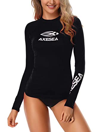 268681c3dd AXESEA Women Rash Guard Long Sleeve Active Top UPF 50+ Rashguard Swim Shirt  Surf Swimwear