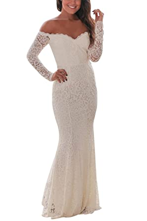 920ebc4c789 FUSENFENG Womens Evening Gown Off Shoulder Long Sleeve Lace Wedding Party  Maxi Dress S-XL (White