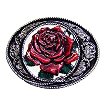 Modestone Red Rose Filligree Western Style Belt Buckle Valentine's Day Silver