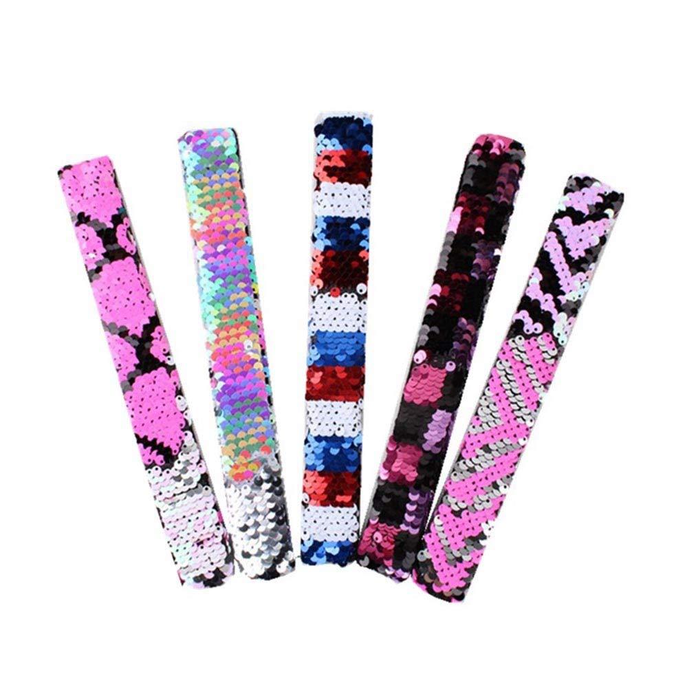Toyvian Sequin Slap Bracelets Easter Party Wrist Strap for Kids Favors Gifts 5pcs (Colorful)