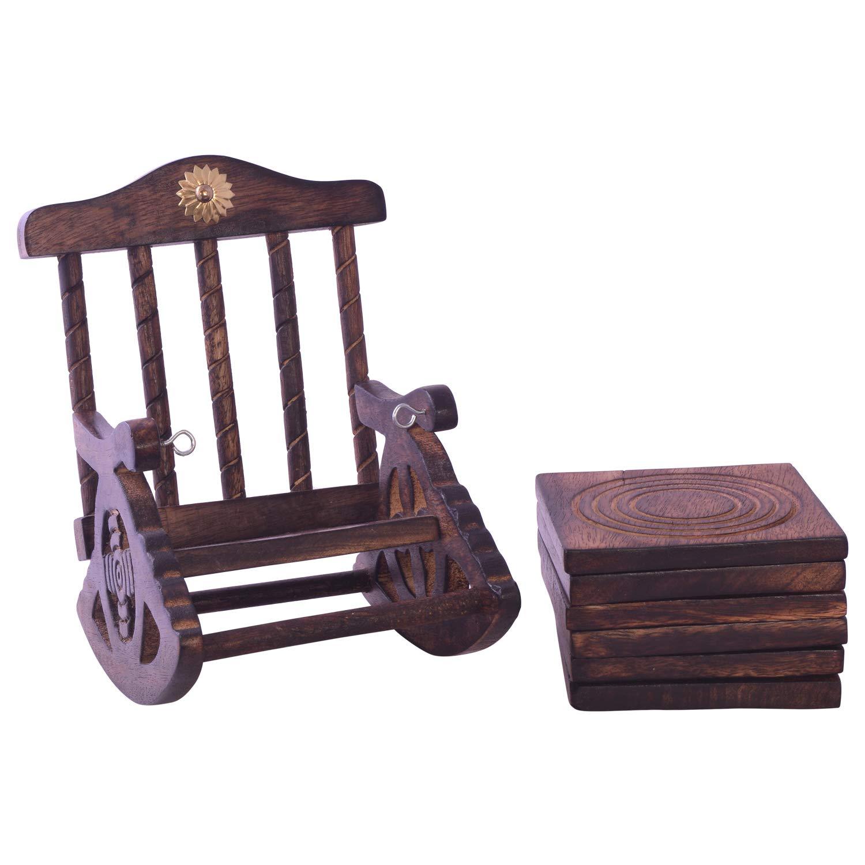 saugf/ähig umweltfreundlich 6er Set handgefertigter Getr/änke-Untersetzer aus Holz mit antiker Optik.