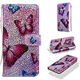 Case for Galaxy S8,Smooth Sparkly Glitter PU Leather Shockproof Inner Bumper Wallet Case Slim Kickstand with Magnetic Card Slots and Strap Shock Absorbent Compatible with Samsung Galaxy S8 -Butterfly
