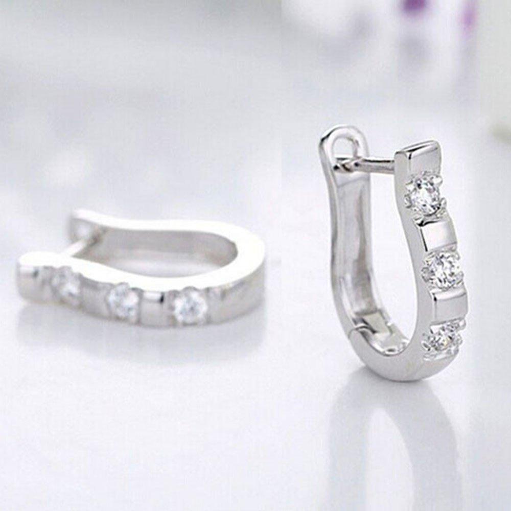 Women Fashion Hoop Earrings Diamond U Cuff Earrings for Women Girls Mini Bar Huggie Stud Earrings