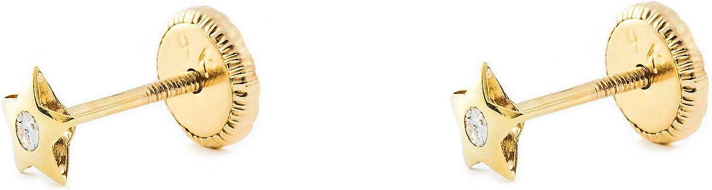 Pendientes Bebe Estrella con circon (9kts)