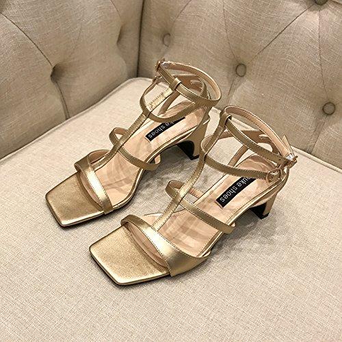 De Sandales Haut Romain Talon La Avec Big Le Couleur Femmes Chaussures Chaussure Creuse Unie Dans Shoeshaoge Les Verges Saison fxw886
