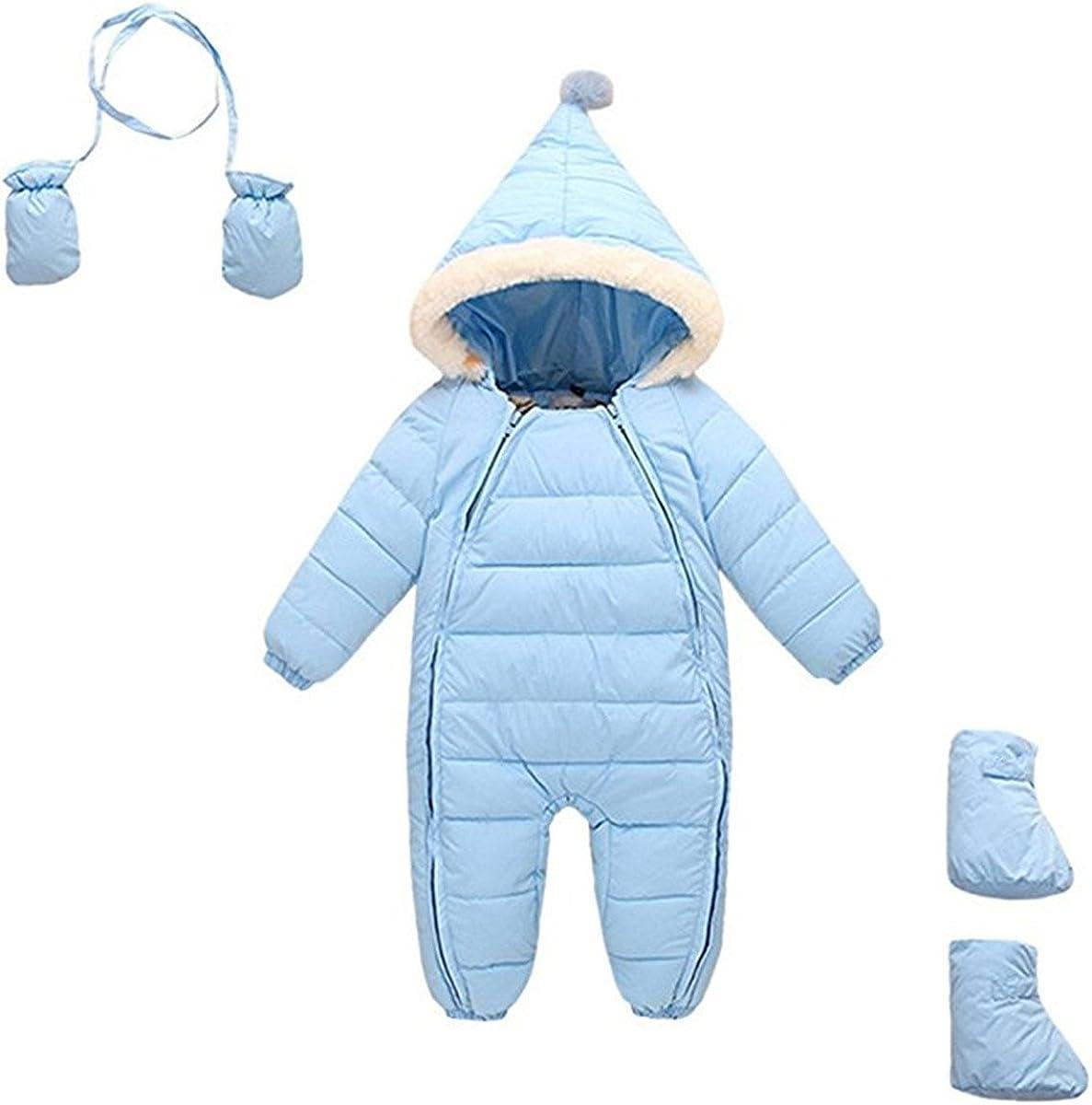 JELEUON 3Pcs Baby Girls Boys One Piece Zipper Down Jacket Winter Romper Jumpsuit Romper+Gloves+Shoes