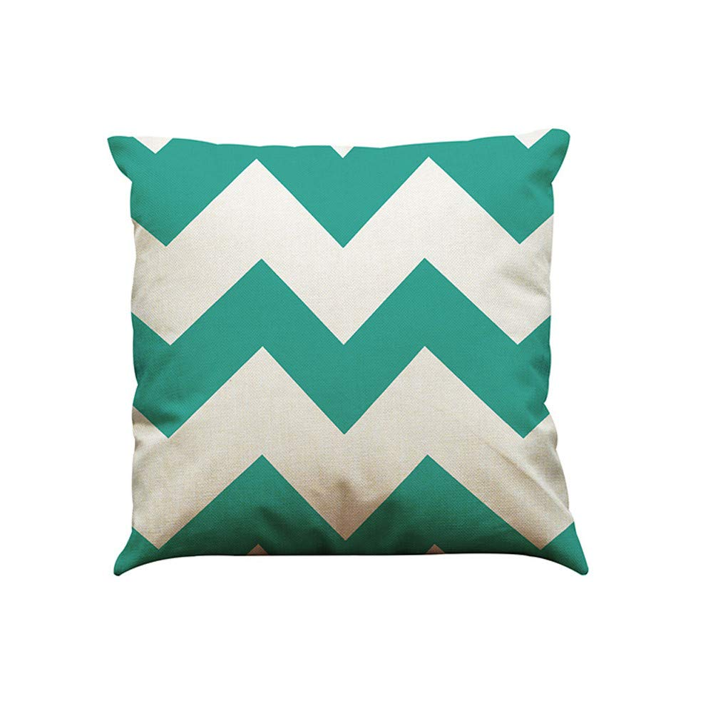 Pgojuni Color Geometric Lines Cotton Linen Cushion Cover Throw Waist Pillow Cover Cushion Cover Square Pillow Case for Sofa/Car/Bed 1pc (E)