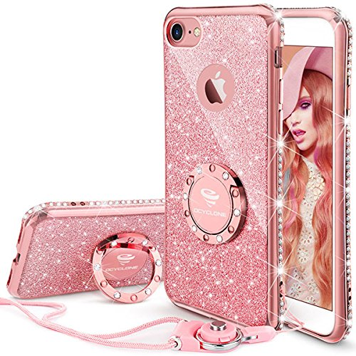 iPhone 7 Case, iPhone 8 Case, Glitter Cute Phone Case Girls with Kickstand, Bling Diamond Rhinestone Bumper with Ring Stand Thin Soft Protective Pink Apple iPhone 7 / 8 Case for Girl Women - Rose (Pink Phone Case)