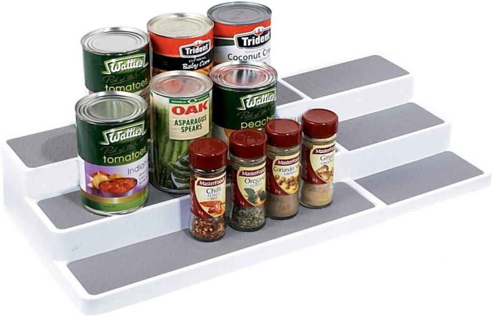 KLGO 3-Tier Spice Rack Expandable Step Shelf Cabinet Non Skid Kitchen Organizer Waterproof